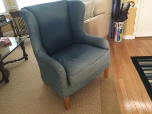 blue chair with pillow removed